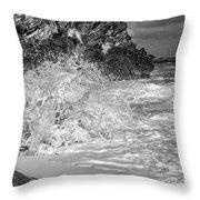 Ocean Wave Splash In Black And White Throw Pillow