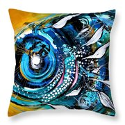 Ochre Fish Four Throw Pillow