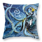 Octopus Of Nine Brains Throw Pillow