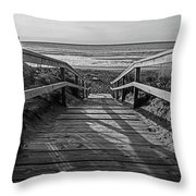 Ogunquit Beach Footbridge At Sunrise Ogunquit Maine Black And White Throw Pillow