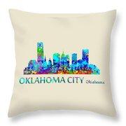 Oklahoma City Watercolor Throw Pillow