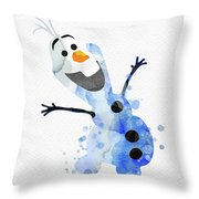 Olaf Watercolor Throw Pillow