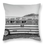 Old Abandoned Vintage Bus Jerome Arizona Throw Pillow