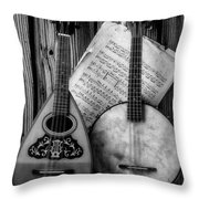 Old Banjo And Mandolin Black And White Throw Pillow