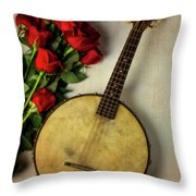 Old Banjo And Roses Throw Pillow