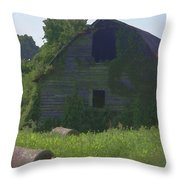 Old Barn And Hay Bales 2 Throw Pillow