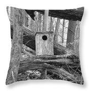 Old Birdhouse Throw Pillow