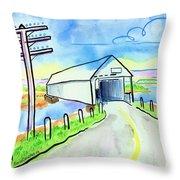 Old Covered Bridge - Avonport N.s. Throw Pillow