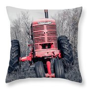 Old Farmall Farm Tractor Color Separation Nh Throw Pillow
