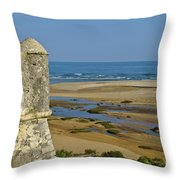 Old Fortress Guarding Tower In Portugal Throw Pillow