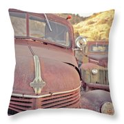 Old Friends Two Rusty Vintage Cars Jerome Arizona Throw Pillow