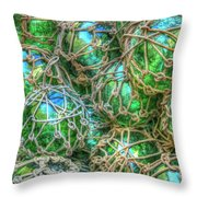 Old Glass Buoys Throw Pillow