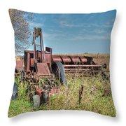 Old Hay Baler Throw Pillow