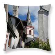 old historic church spire and houses in Ediger Germany Throw Pillow