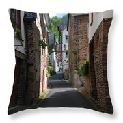 old historic street in Ediger Germany Throw Pillow