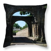 old historic town gate in Hexham Throw Pillow