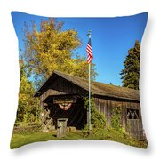 Old Hollow Covered Bridge Throw Pillow