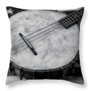 Old Mandolin Banjo In Black And White Throw Pillow