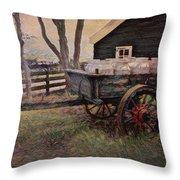 Old Milk Wagon Throw Pillow