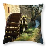 old mill wheel and stream at Preston Mill, East Linton Throw Pillow