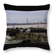 Old New Jersey Pier Statue State Park II Throw Pillow