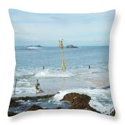 old pier at North berwick and Forth estuary Throw Pillow