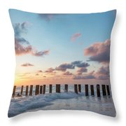 Old Pier Pilings II Throw Pillow by Brian Jannsen