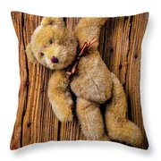 Old Teddy Bear Hanging On The Door Throw Pillow