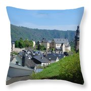 old town walls and church and buildings of Cochem Throw Pillow