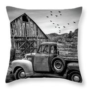 Old Truck At The Barn Bordered Black And White Throw Pillow