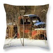 Old Truck In Winter Snow In Hope Alaska Throw Pillow