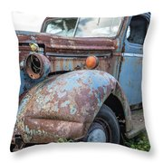 Old Vintage Blue Pickup Truck Among The Weeds Throw Pillow