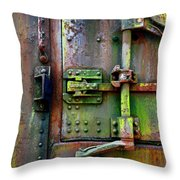 Old Weathered Railroad Boxcar Door Throw Pillow