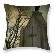 Ominous Clouds Surround Crow Throw Pillow