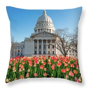 On A Bed Of Tulips Throw Pillow