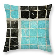 On A Theme Of Turquoise And Black Throw Pillow