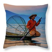 On Inle Lake Throw Pillow by Chris Lord