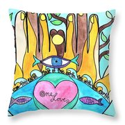 One Love One Earth Throw Pillow