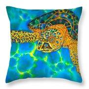 Opal Sea Turtle Throw Pillow