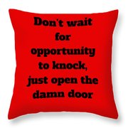Open The Door      Black On Red Throw Pillow by Edward Lee