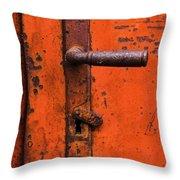 Orange Door Handle Throw Pillow