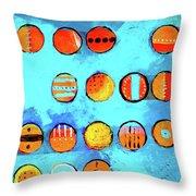 Orange Dots Throw Pillow