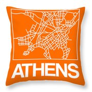 Orange Map Of Athens Throw Pillow