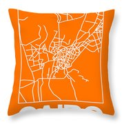 Orange Map Of Cairo Throw Pillow