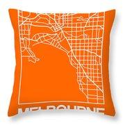 Orange Map Of Melbourne Throw Pillow