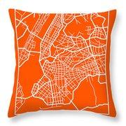 Orange Map Of New York Throw Pillow