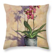 Orchids And Plums Throw Pillow
