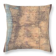 Oregon Washington Historic Map Colton Sepia Map Hand Painted Throw Pillow