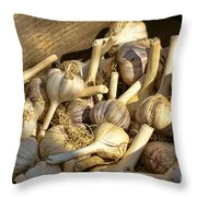 Organic Garlic Throw Pillow