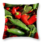 Organic Red And Green Peppers Throw Pillow